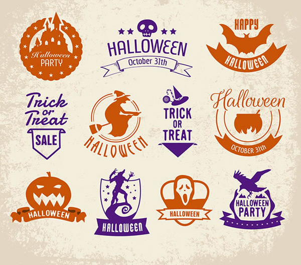 Coat of arms of Halloween icons vector AI