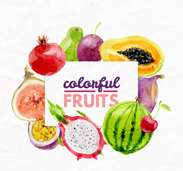 Colorful fresh fruit Vector AI