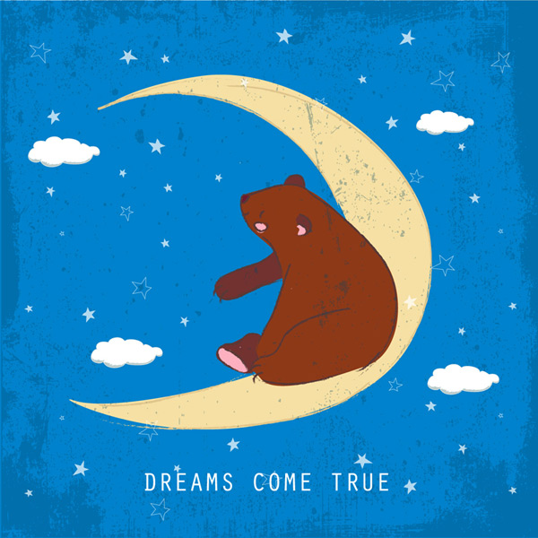 Crescent Moon on the brown bear Vector EPS