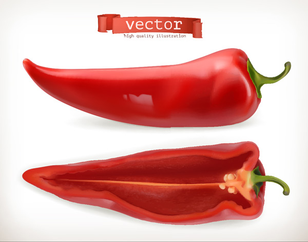 Cut red peppers Vector EPS