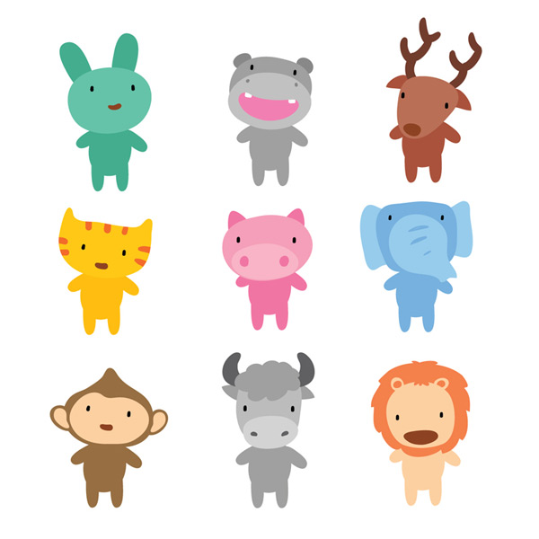 Cute cartoon animals Vector EPS