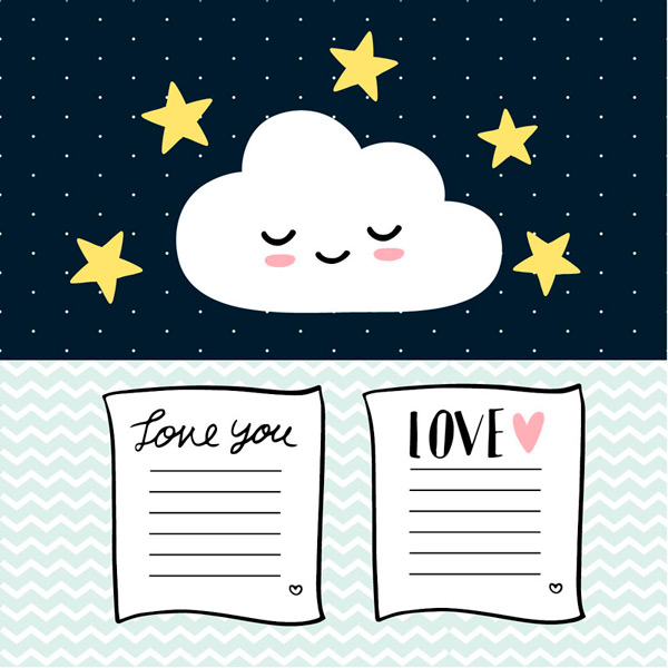 Cute clouds and stationery Vector AI