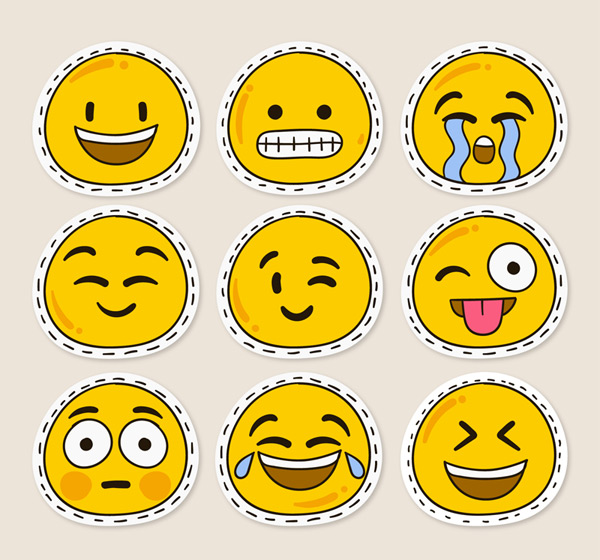 Cute face stickers Vector AI