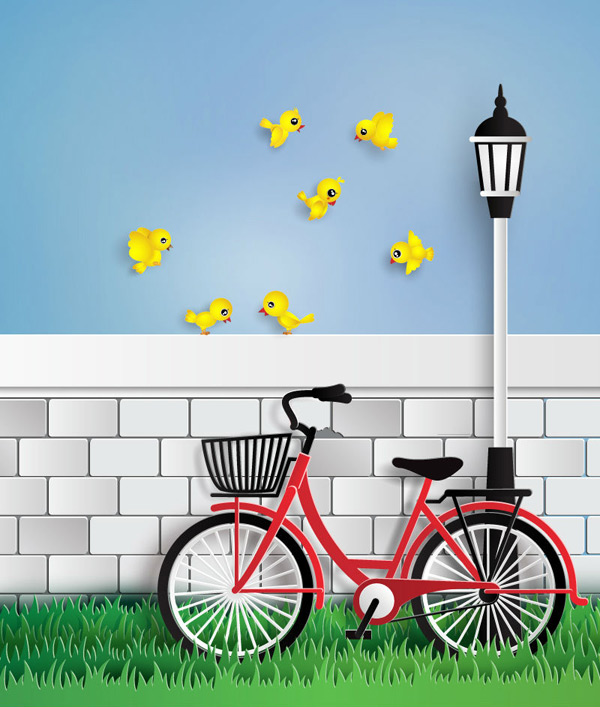 Cycling and the yellow bird Vector EPS