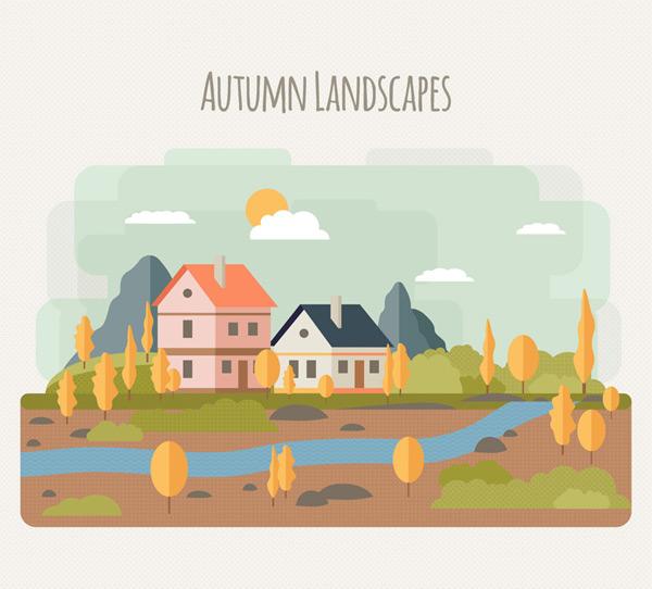 Fall River building landscape vector AI