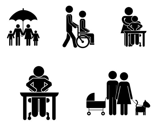 Family black icons Vector AI
