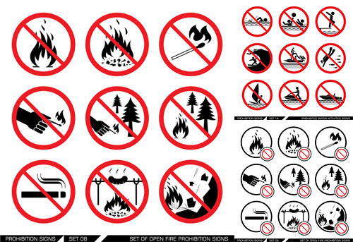 Fire safety signs Vector EPS