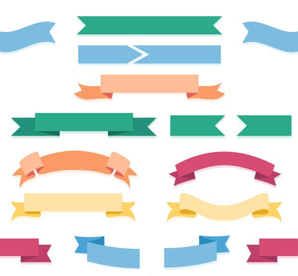 Flat ribbon banner Vector AI