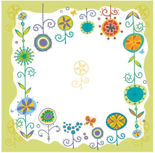 Flower borders of elements Vector EPS