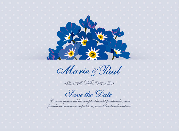 Forget me not wedding invitation cards Vector AI