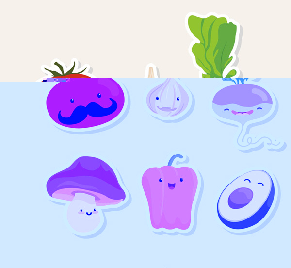 Fruit and vegetable stickers Vector AI