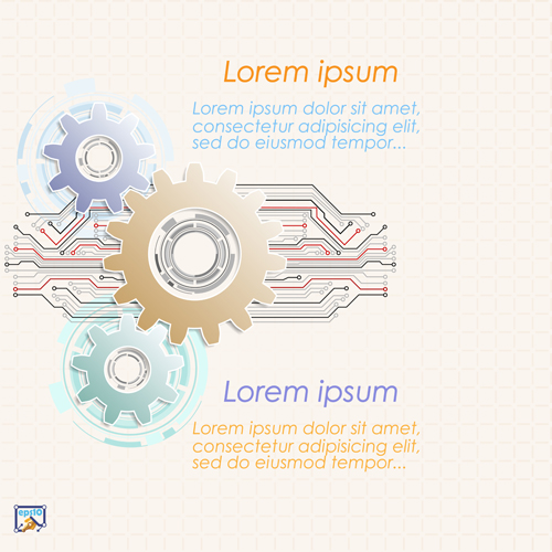 Gear and abstract elements Vector EPS 06