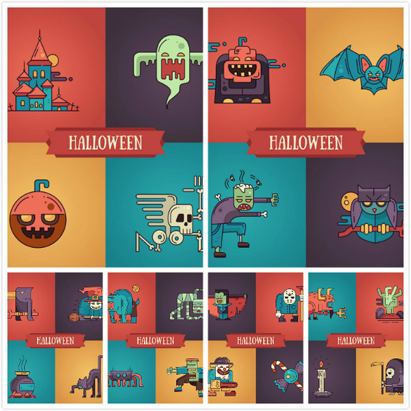 Halloween Carnival figures vector EPS AI