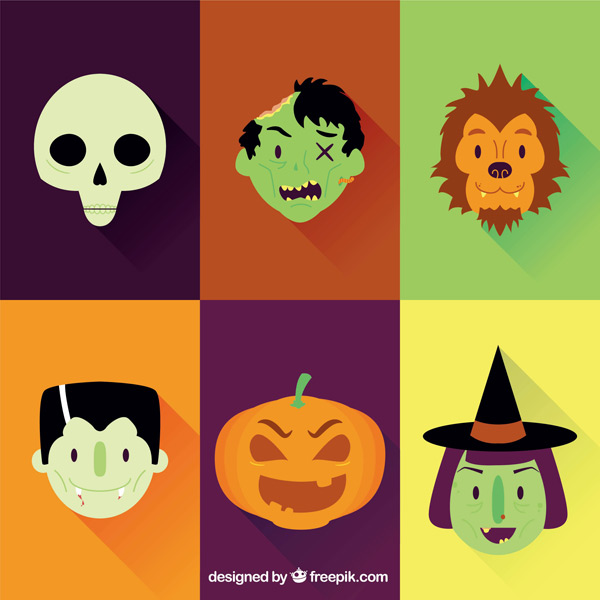 Halloween character faces vector EPS