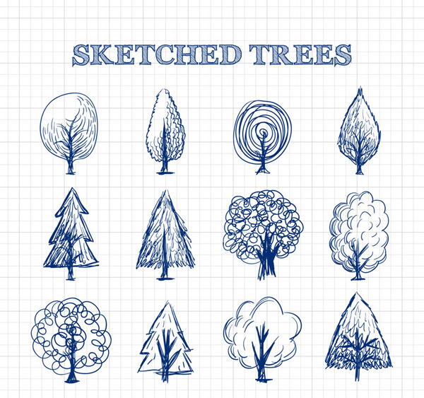 Hand-drawn sketch trees Vector AI