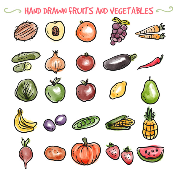 Hand-painted fruits and vegetables Vector AI 01