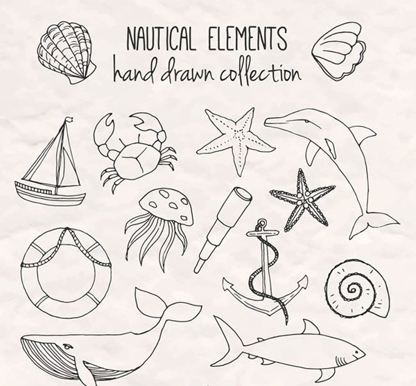 Hand-painted nautical elements Vector AI