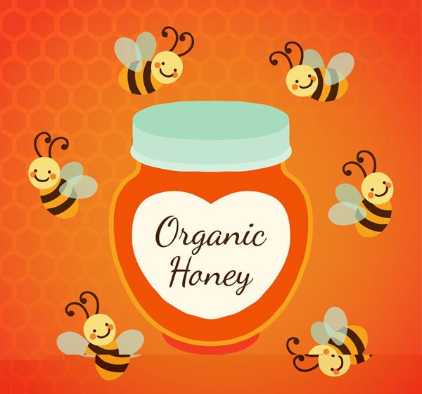 Honeybees and bottled honey Vector AI