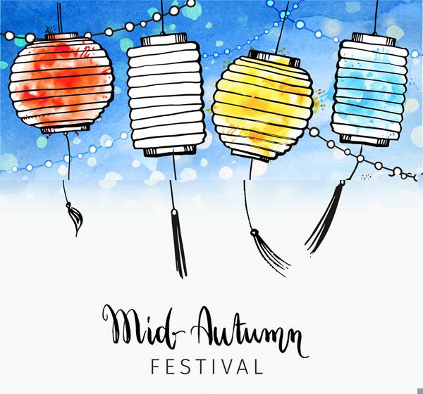 Mid-Autumn Festival lantern card Vector AI