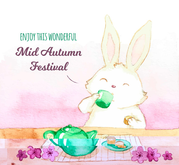 Mid-Autumn Festival tea bunnies Vector AI