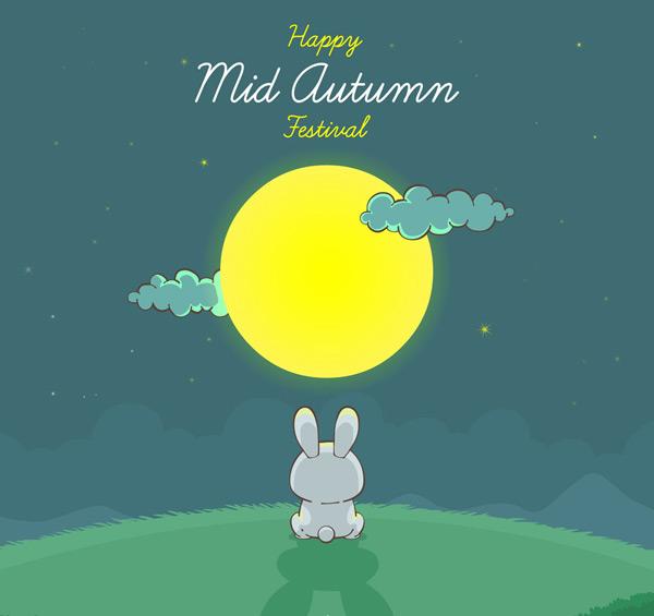 Mid-Autumn Moon rabbit Vector AI