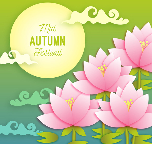 Moon Lotus Moon greeting cards Vector AI