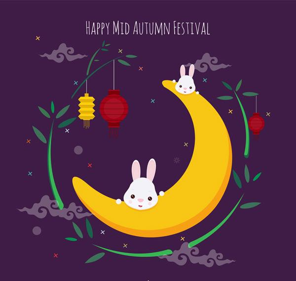 Moon rabbit greeting cards Vector AI