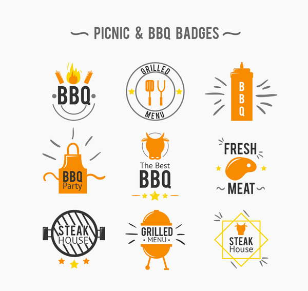 Orange barbecues coat of arms Vector AI