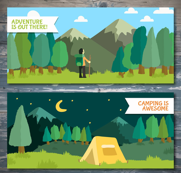Outdoor adventure landscapes vector AI