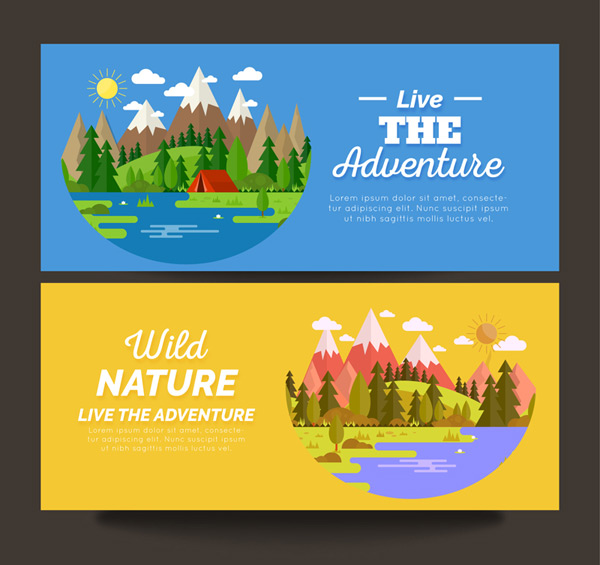 Outdoor adventure travel landscape vector AI