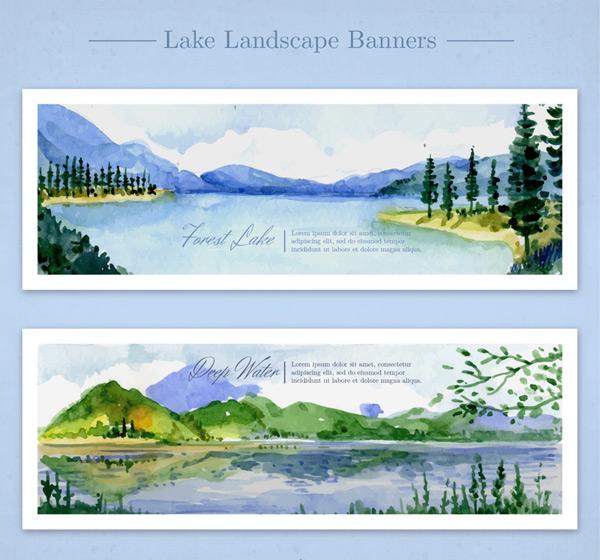 Paint Lake scenery vector AI