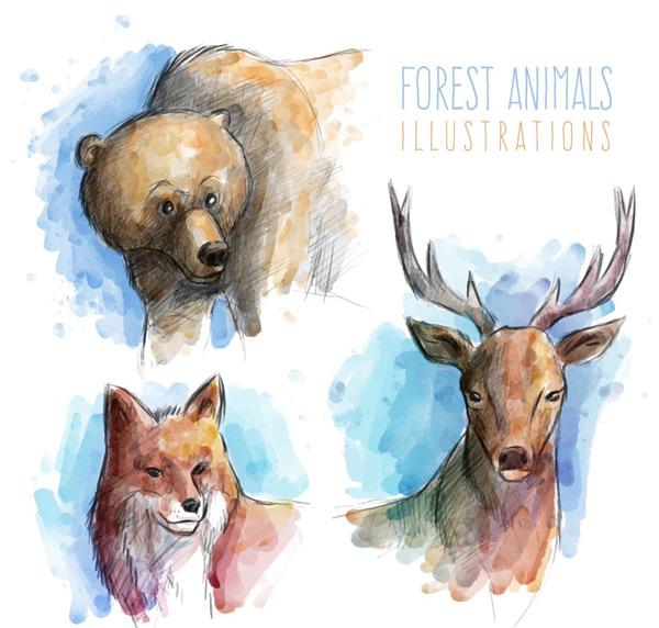 Painted animal avatars Vector AI