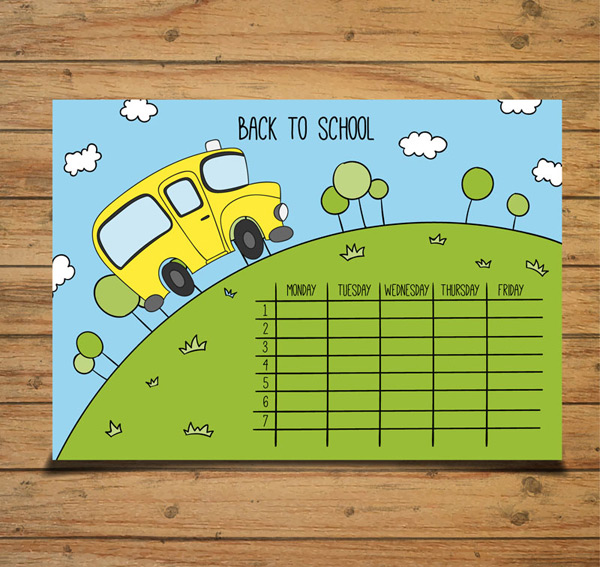 Painted school bus schedule Vector AI
