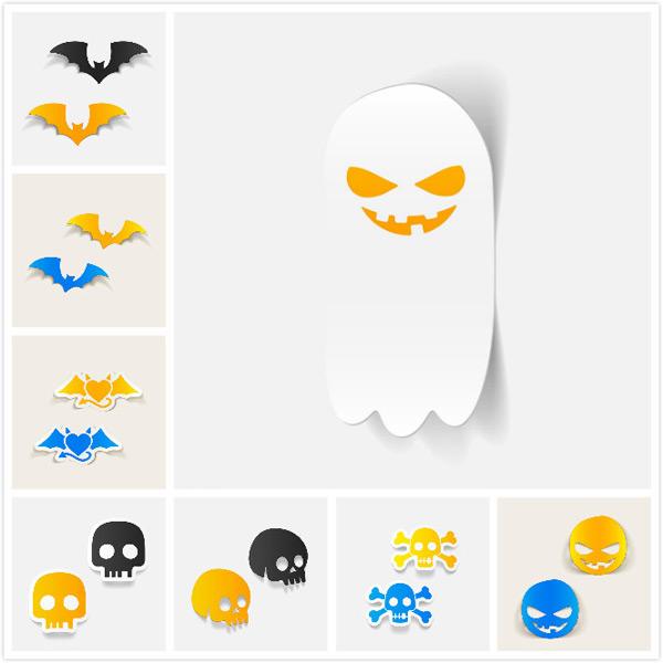 Paper skull bats vector EPS