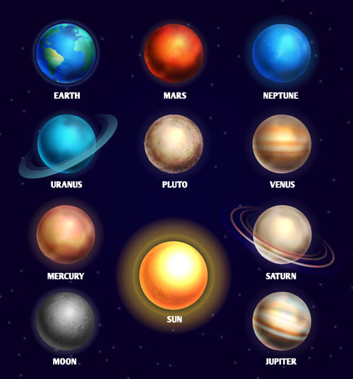 Planets in the solar system topic Vector AI 02