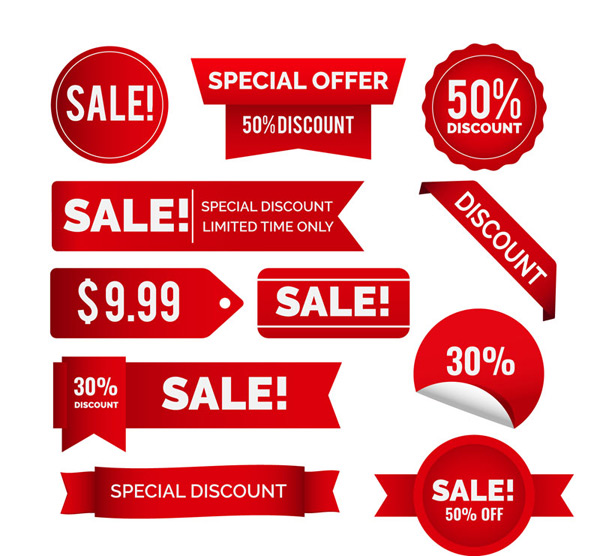 Red sale stickers Vector AI