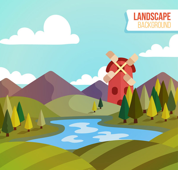 River and windmill views vector AI