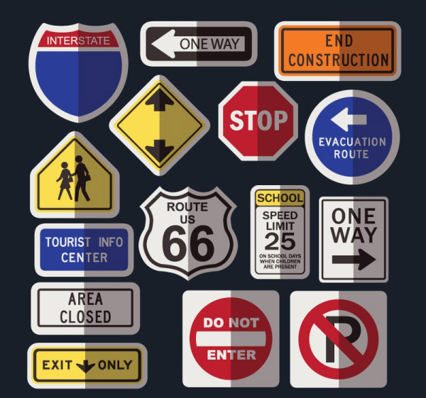 Road traffic signs Vector EPS