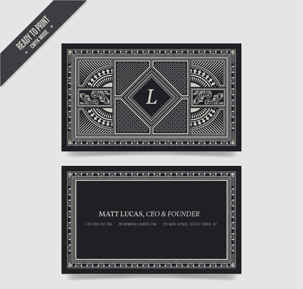 Silver pattern business cards vector AI