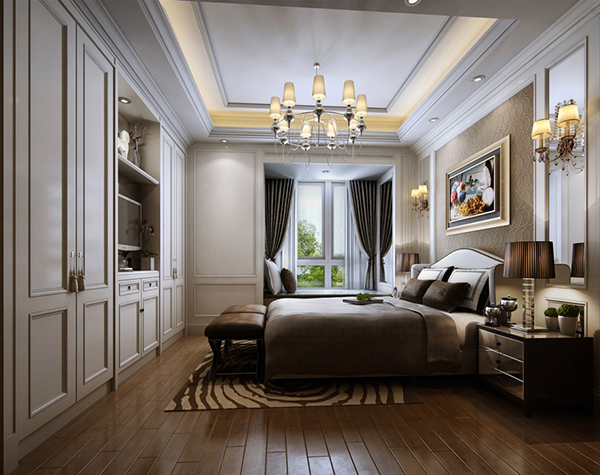 Simple European-Style Bedroom 3D Model