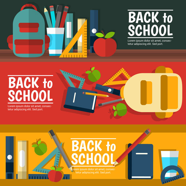 Stationery, school banner Vector AI 01