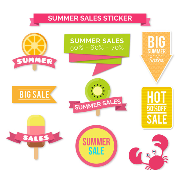 Summer promotion stickers Vector AI 03