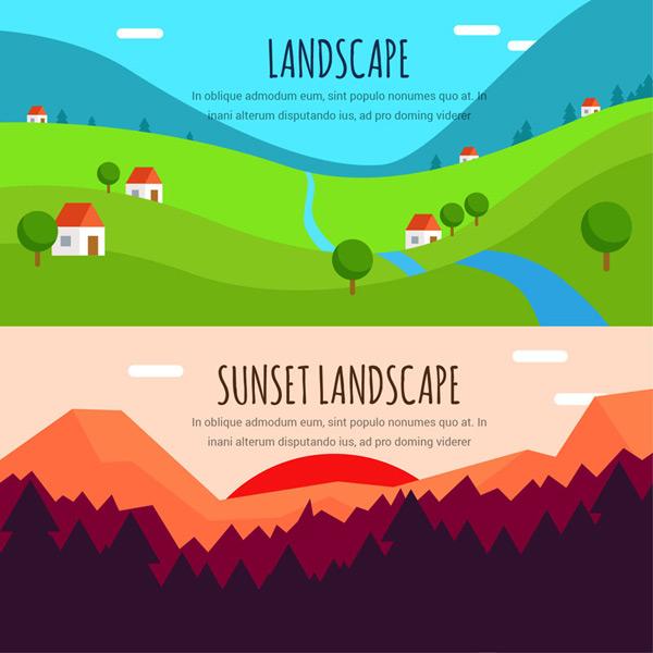 The wild landscape banner Vector AI