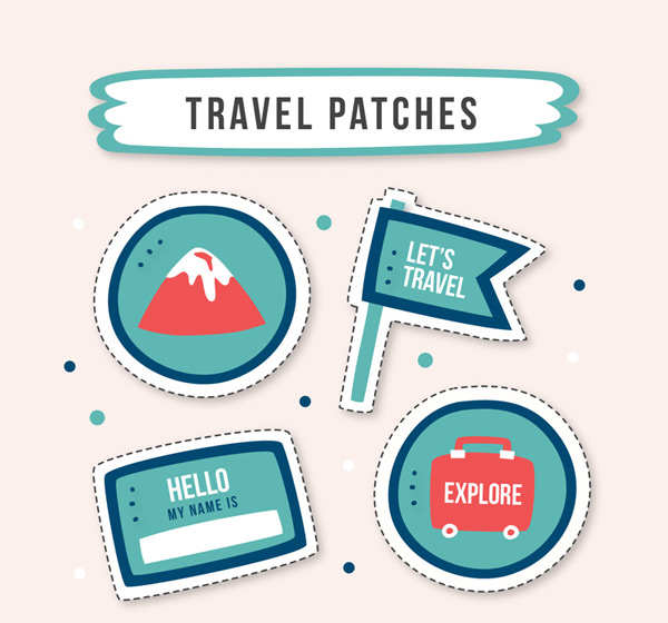 Travel elements patch badge vector AI