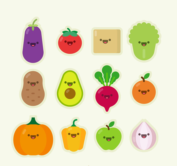 Vegetable and fruit expression Vector AI