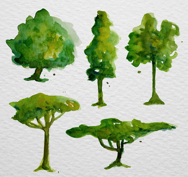 Water painting trees Vector AI