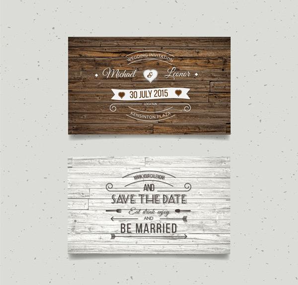 Wood grain wedding invitation cards Vector AI