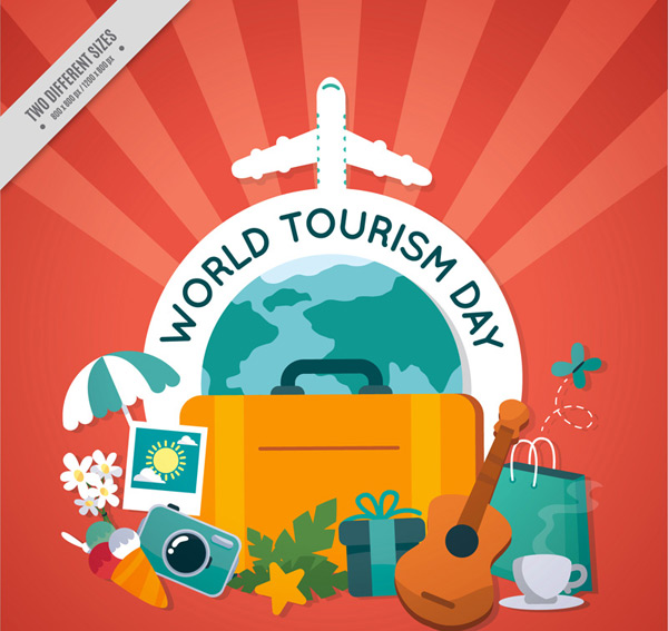 World travel day greeting cards Vector AI