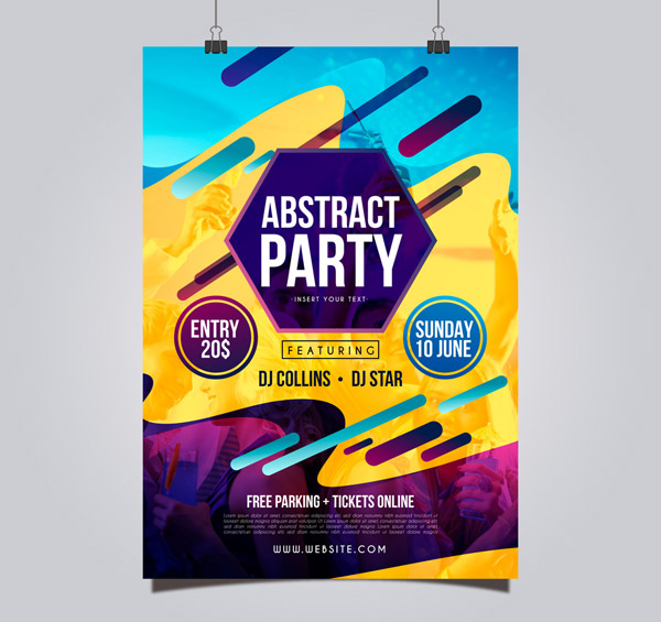 Color Party Poster Vector AI