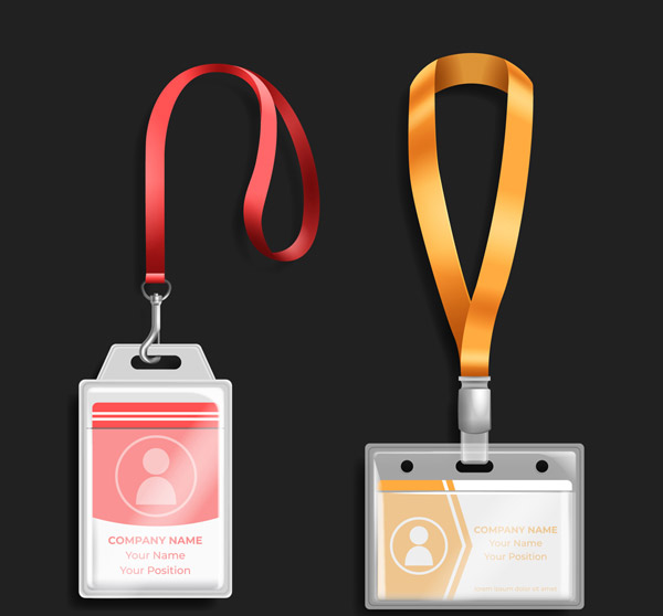 Employee's card with hanging rope Vector AI